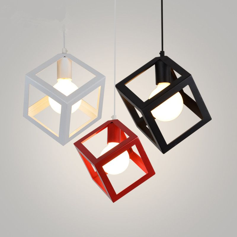 Modern Cube Pendant Lights Art Deco Colorful Iron Cage Shade