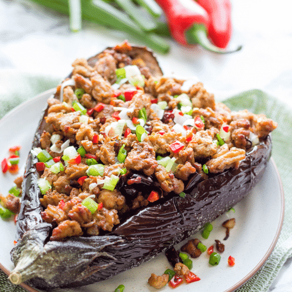 Baked Chinese Eggplant With Pork Mince - Szechuan Style ... |Spicy Eggplant Pork Recipe
