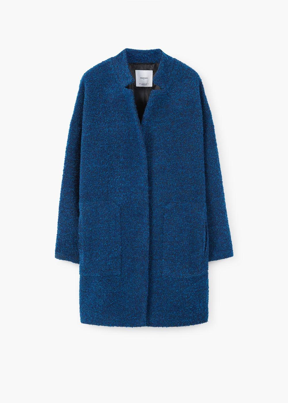 cappotto blu donna boucle