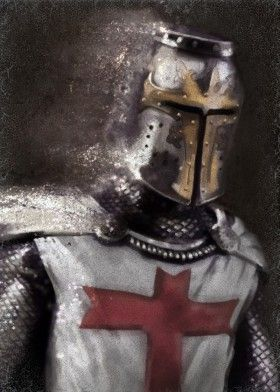 knight templar warrior crusader history painting red cross helmet armor light brown antique man him