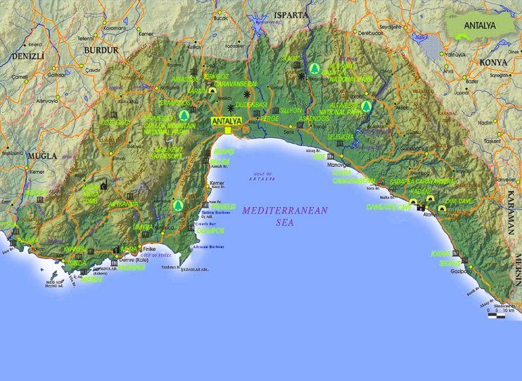 Antalya Province tourist map Maps Pinterest Tourist map