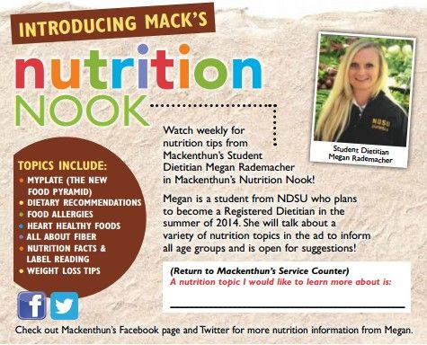 MackS Nutrition Nook With Student Dietitian Megan Rademacher