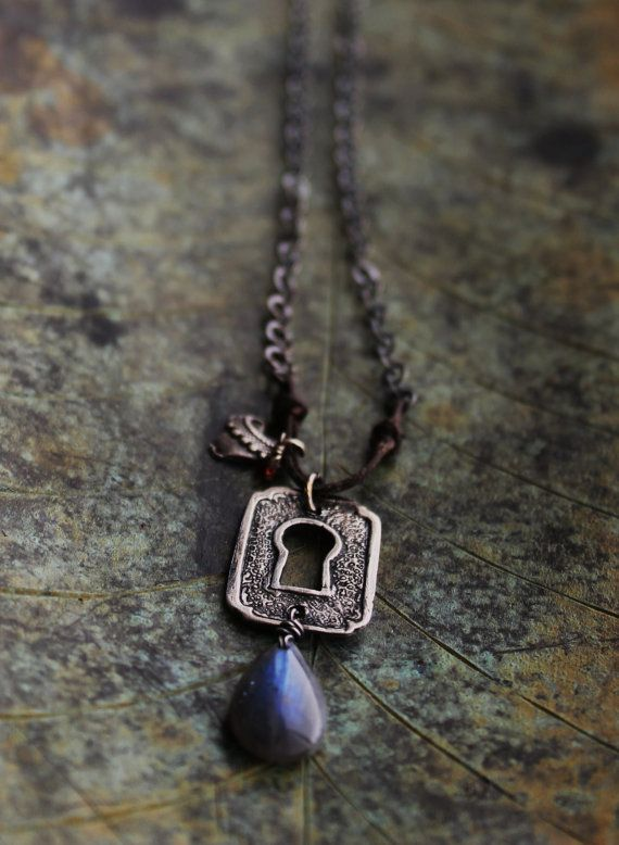 PMC Fine Silver Escutcheon Keyhole Textured Heart Embellished Necklace on Etsy, $72.00