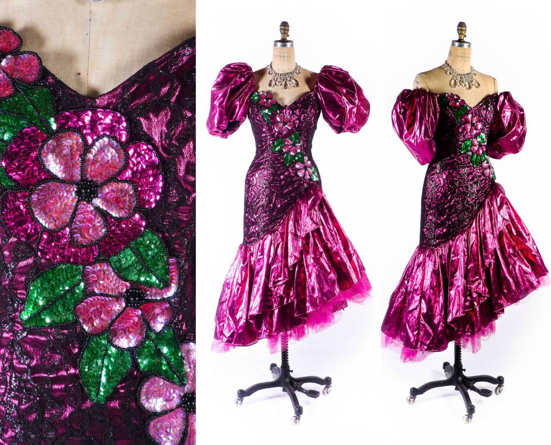 1980s Dress // 1980s Prom Dress // 80s Prom Gown // Asymmetrical ...