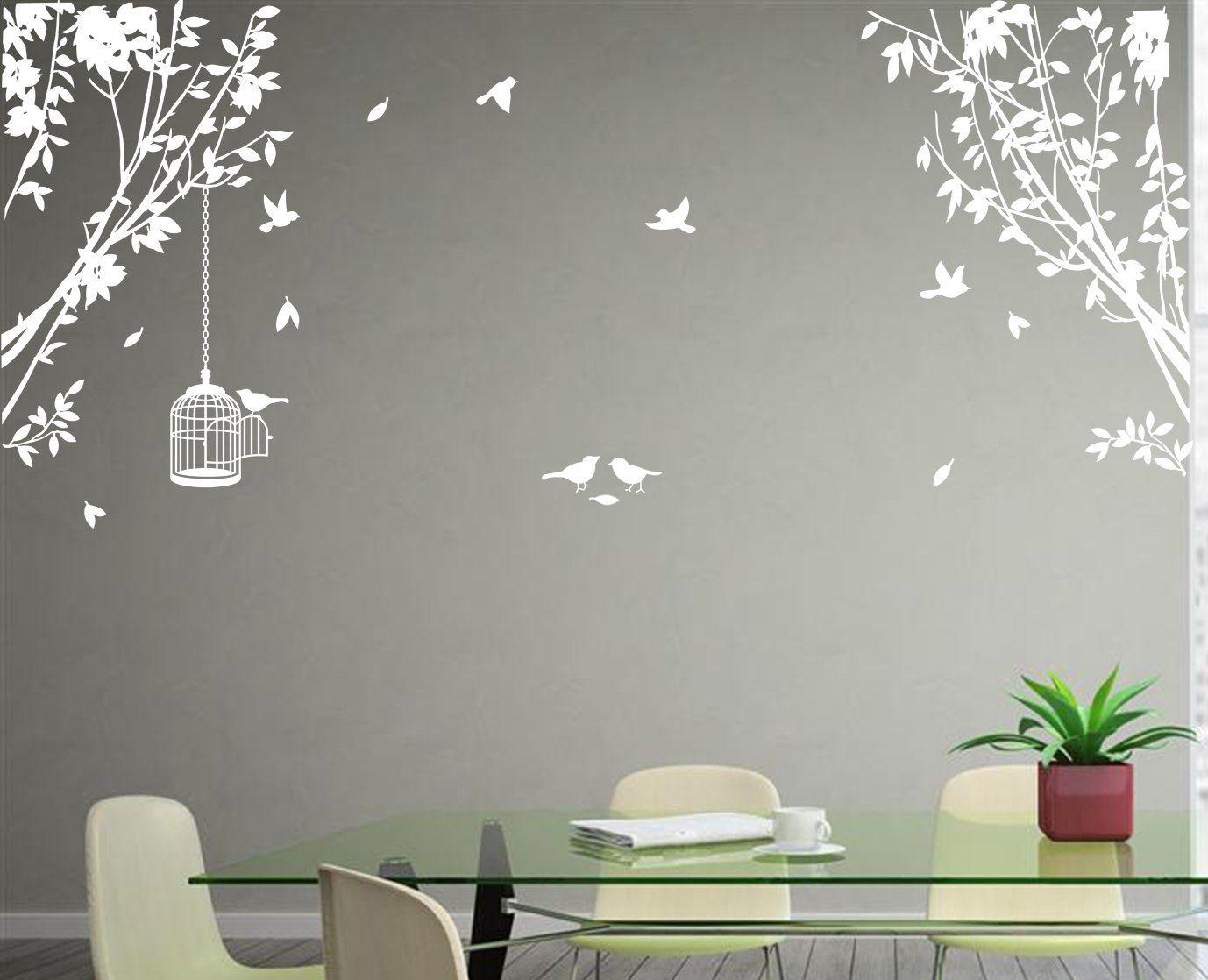 Large Side Wall Tree Branch Birds Art Vinyl Wall Transfer Sticker