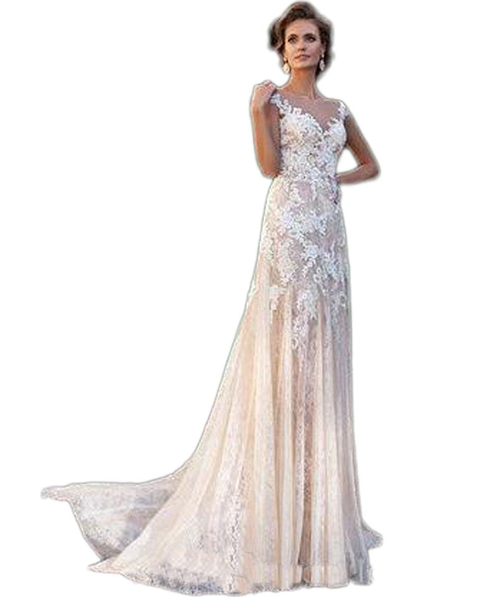 Champagne colored wedding dress  RMDress Glamorous Lace Wedding Dresses Court Train Church Bridal
