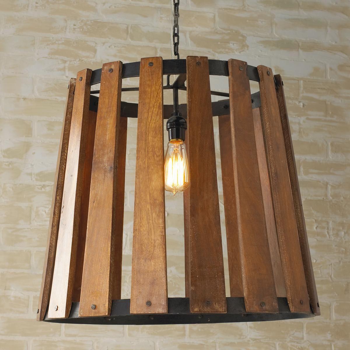 Rustic Wood Light Rustic Ceiling Light Wood Light Fixture: Rustic Open Barrel Wood Pendant Light The Dark Rich Finish