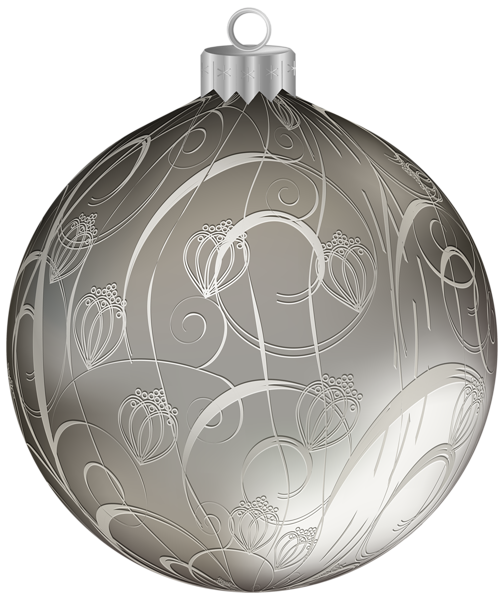 This Png Image Silver Christmas Ball With Ornaments Png Clipart Image Is Available For Free Download Silver Christmas Christmas Balls Silver