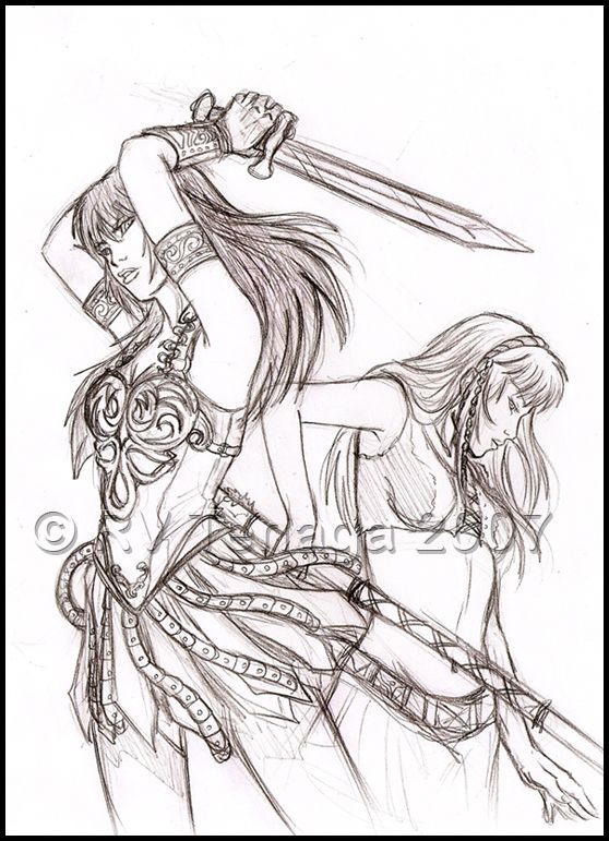 Xena And Gabrielle Sketch By Tenaga On DeviantArt