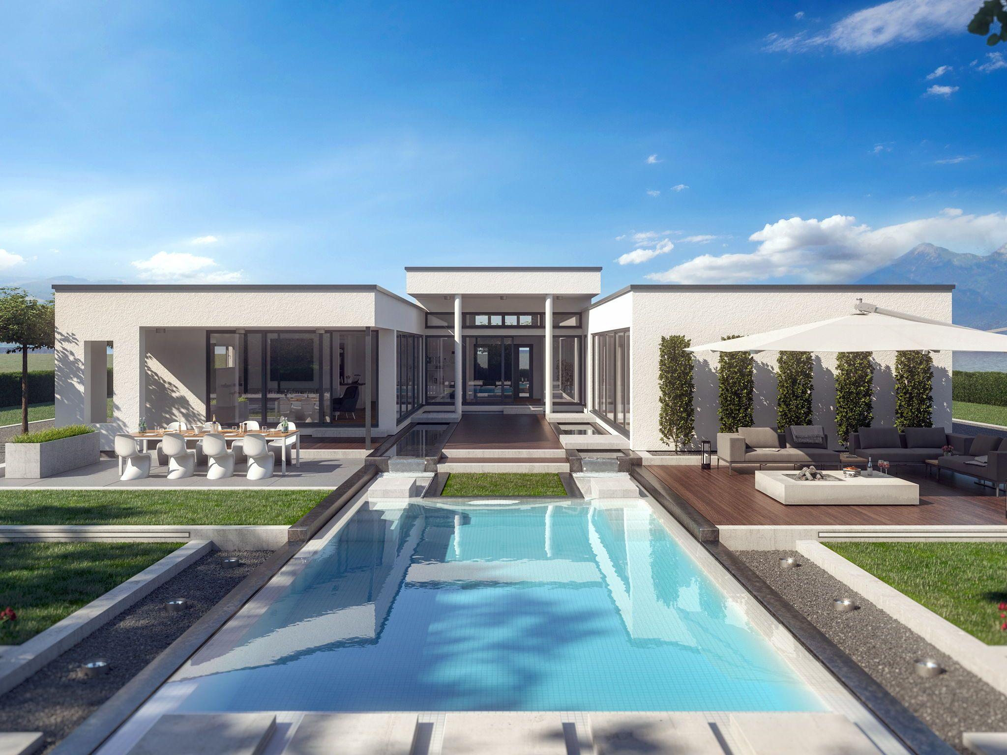 Bungalow Haus modern mit Flachdach Architektur & Innenhof