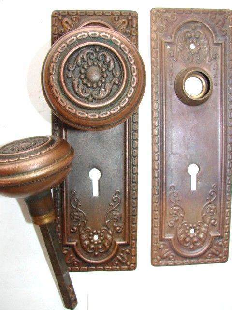 Antique doorknob, brass with copper finish | Door Knobs, Knockers ...
