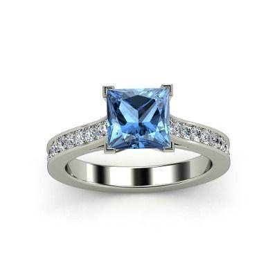 Anillo compromiso diamante azul