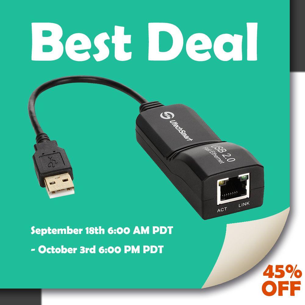 USB Network Adapter, UtechSmart USB 2.0 to 10/100 Fast Ethernet LAN ...