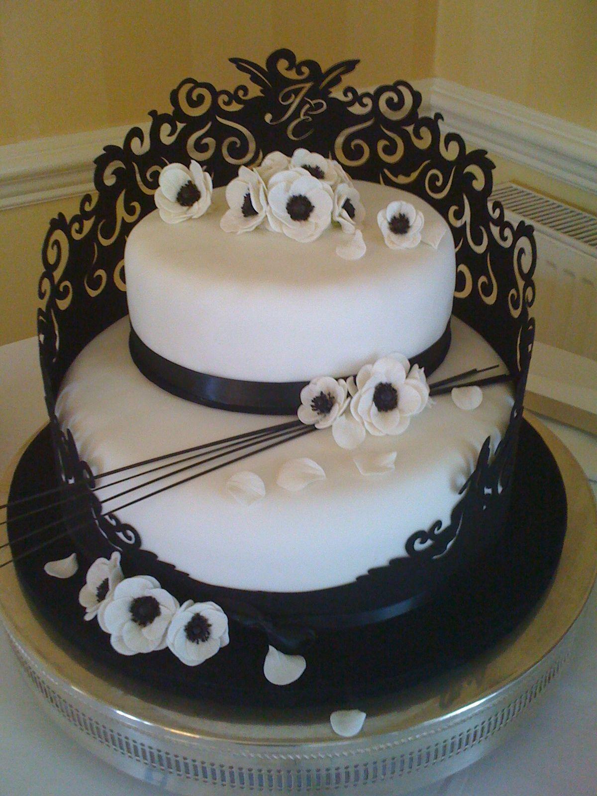Black And White 2 Tear Wedding Cake (Designed By Mum