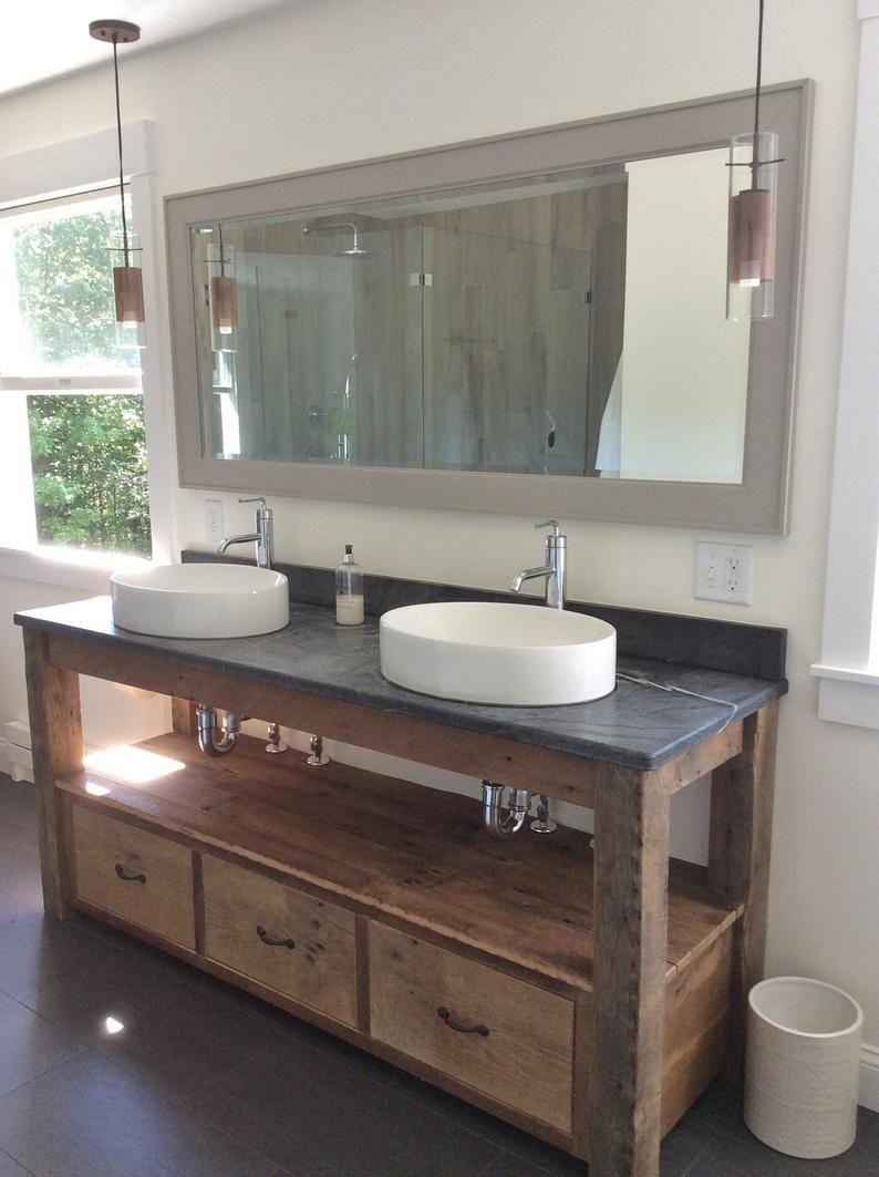 Rustic Bathroom Vanity Reclaimed Barn Wood Vanity Farmhouse