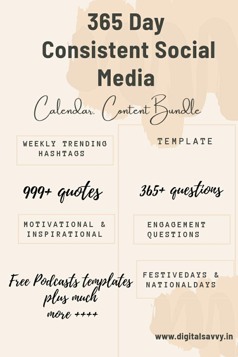 365 Socialmedia Calendar Social Media Calendar Social Media Content Calendar Social Media Schedule