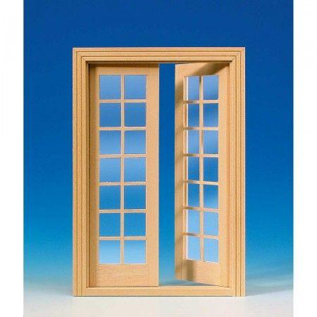 Französische Flügeltür (60110) aus Naturholz mit echten Glasscheiben und beidseitigen Sprossen. Komplett mit Innenverkleidung. Abmessungen: 137 x 196 mm (BxH). Ausschnittmaße: 126 x 193 mm.
