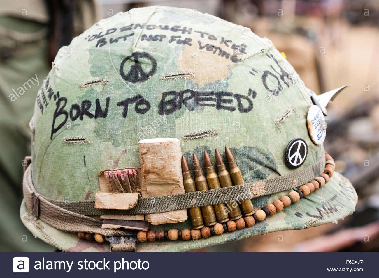 Vietnam Re Enactment American Gi Helmet With Born To Breed Written F60xj7 Jpg 1300 956 Vietnam Vietnam War Vietnam War Photos