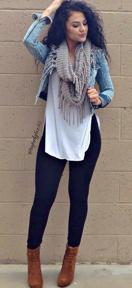 24 Trendy Outfits Pair a black or dark or colored bottom with jean jacket and scarf | Words of ...