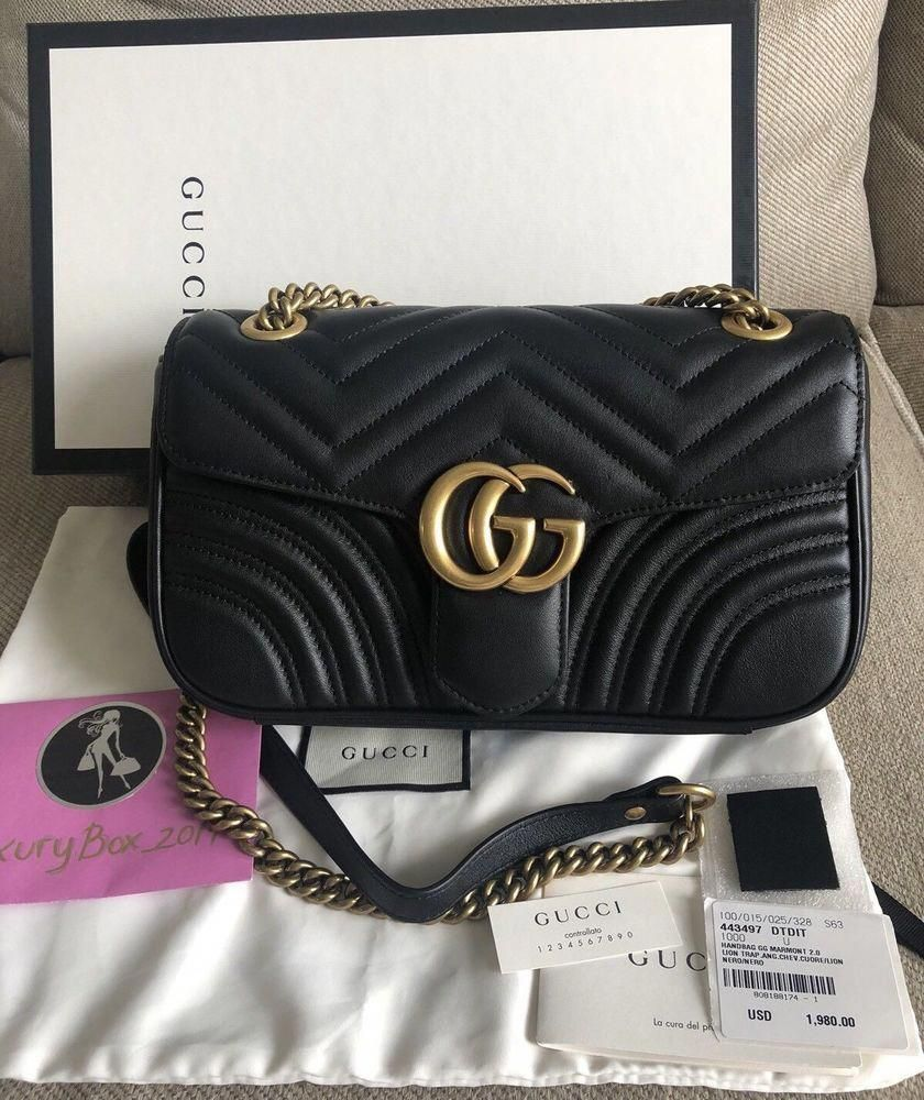 ca333474a13fc2 New Gucci GG Marmont Small Leather Shoulder Bag Black  fashion  clothing   shoes  accessories  womensbagshandbags ...