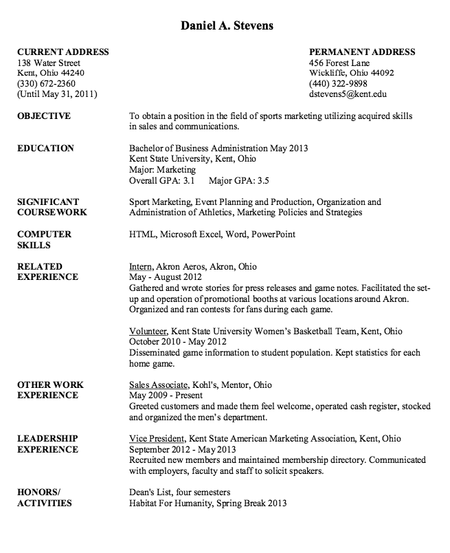 Sport Marketing Resume Sample