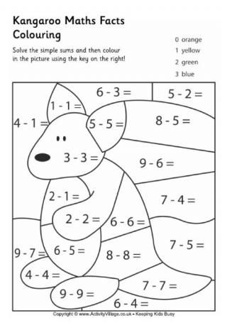 Kangaroo Maths Facts Colouring Page Matekra Kindergarten Math