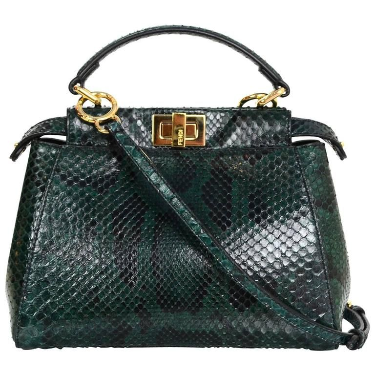 4ae6de67 Fendi Green Python Mini Peek-a-Boo Crossbody Bag rt. $5,950 ...