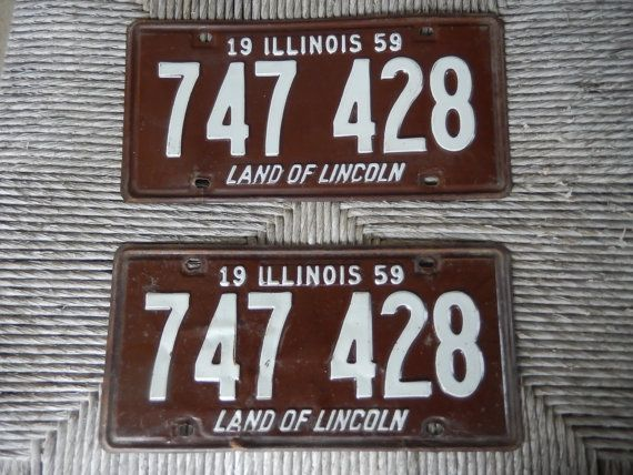 Vintage License Plates Illinois 1959 Rustic Brown by AMarigoldLife & Vintage License Plates Illinois 1959 Rustic Brown and White Pair of ...