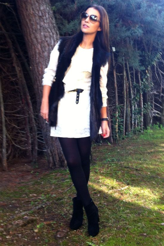 Outfit con vestido blanco en invierno