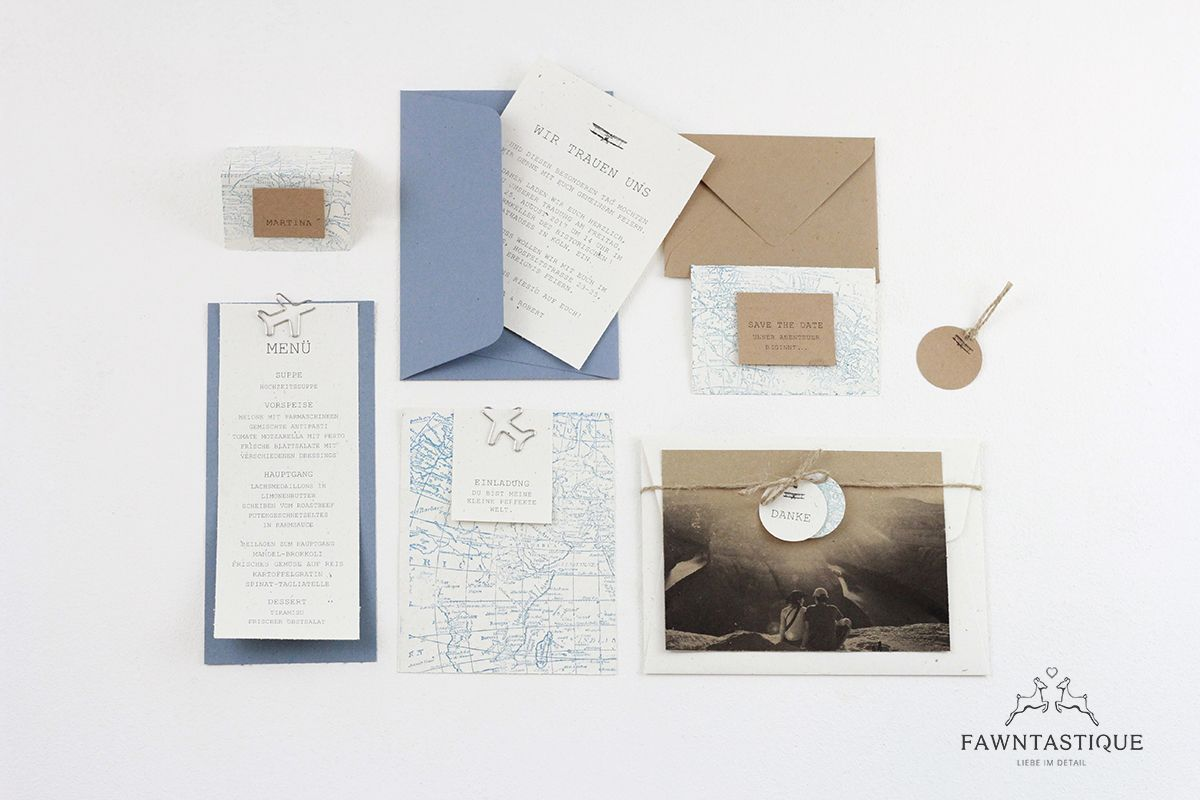 Let's start our adventure. Blue wedding invitation with kraft paper and vintage blue. We love this combination from stamp and print.