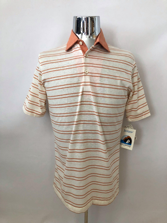 ad9297e5 Vintage Men's 70's NOS, Unworn, Jantzen Polo Shirt, White, Coral, Striped,  Short Sleeve (M) by Freshandswanky on Etsy