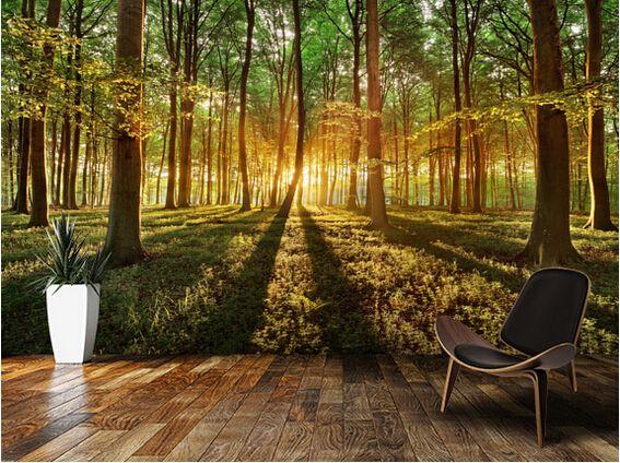 Barato personalizado paisagem papel de parede primavera for Sala de estar com papel de parede 3d