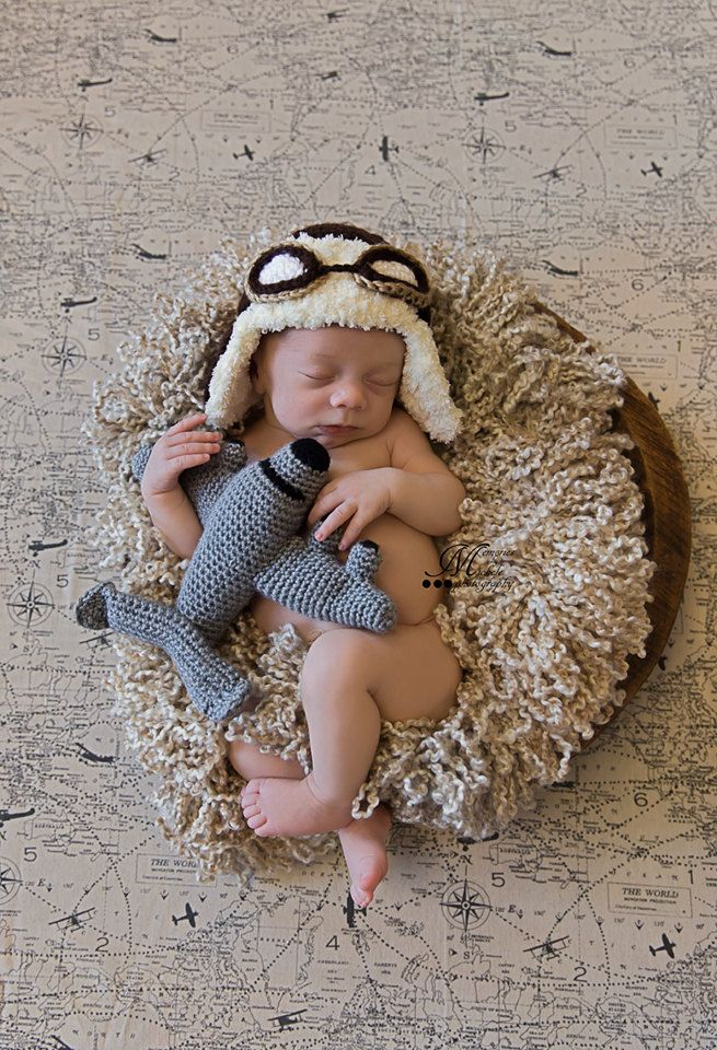 Pattern crochet newborn aviator hat goggles and amigurumi plane newborn photo prop