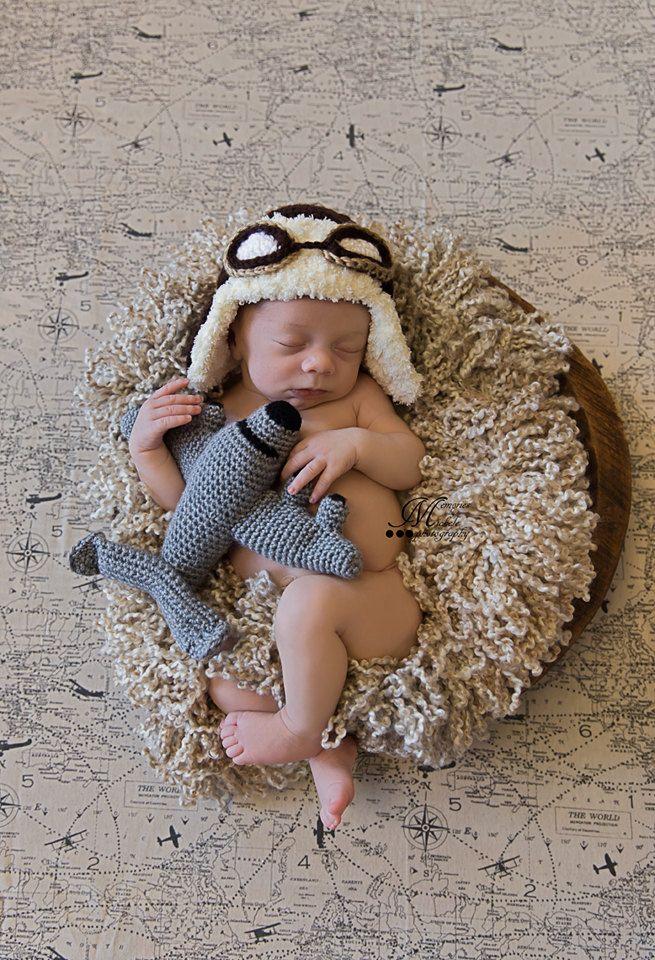 1f95268de8a4 PATTERN- Crochet Newborn Aviator Hat