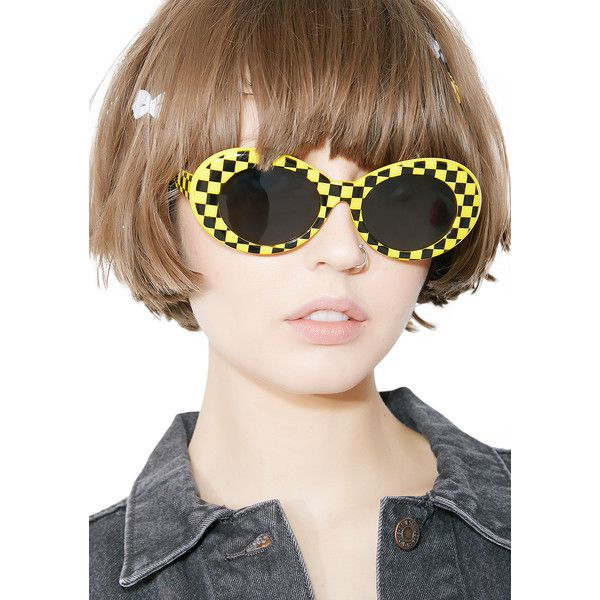 9a7c26d9e8e8 Petals and Peacocks Taxi Cab Nevermind Sunglasses will have ya racin  thru  the city. These sunnies have black N  white checkered frames with round  black ...