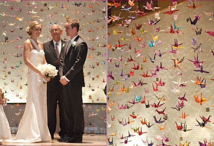 Again Origami Crane Curtain