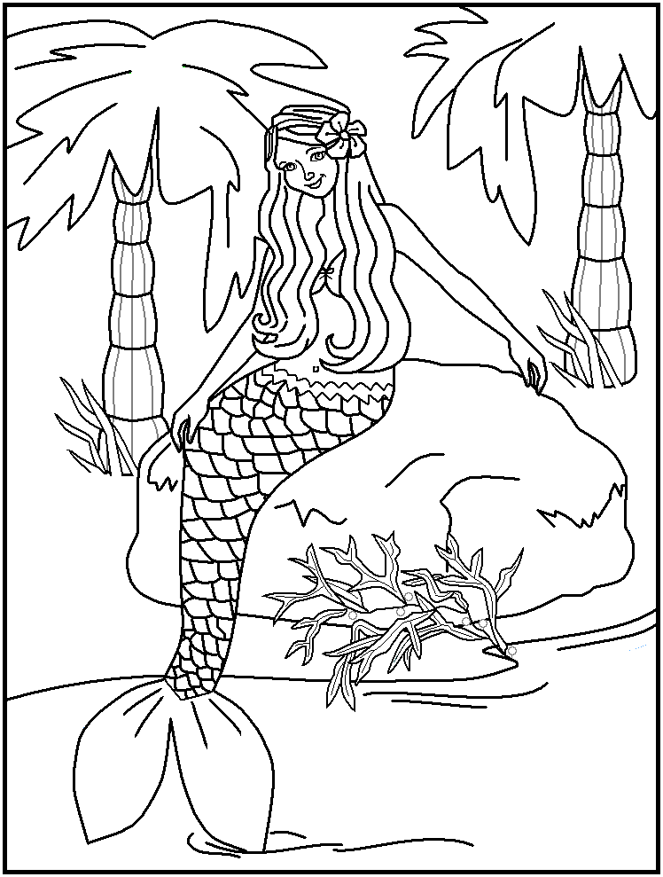 beautiful mermaid coloring pages | free printable water world ... - Coloring Pages Pretty Mermaids