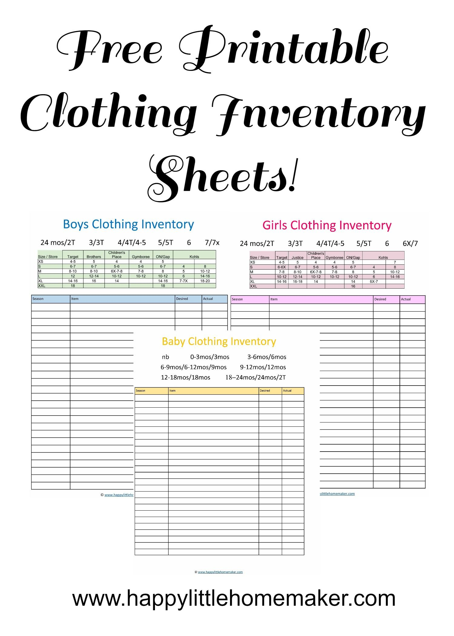 Free Printable Children S Clothing Inventory Sheets