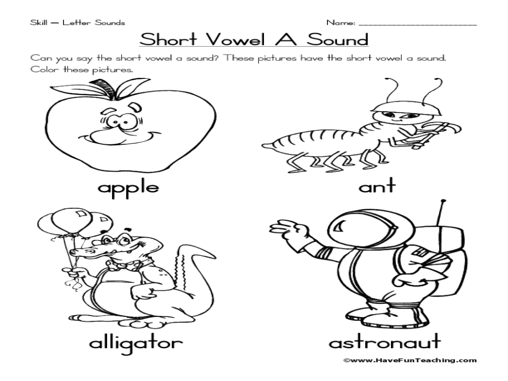 Short Vowel A Sound Worksheet For Pre K