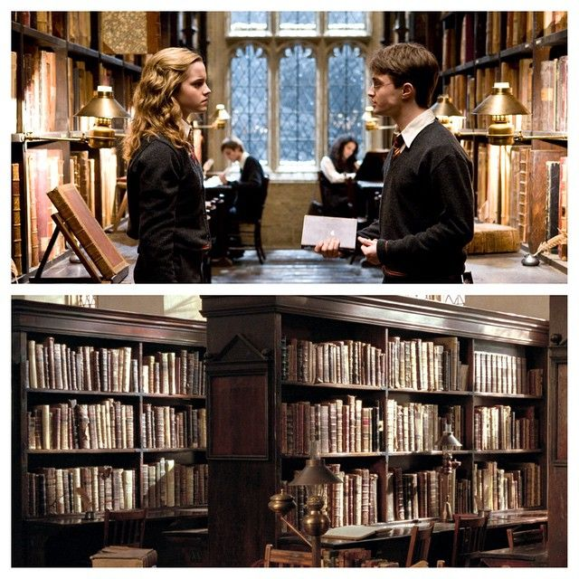 """""""The books are a combination of really nice leather books and books that are made out of light material, such as Styrofoam, because sometimes we had to have very tall piles of books flying through the air!"""" - Stephenie McMillan, Art Director #HarryPotter"""
