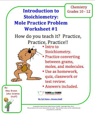 Stoichiometry A Mole Practice Problem Worksheet  Classroom