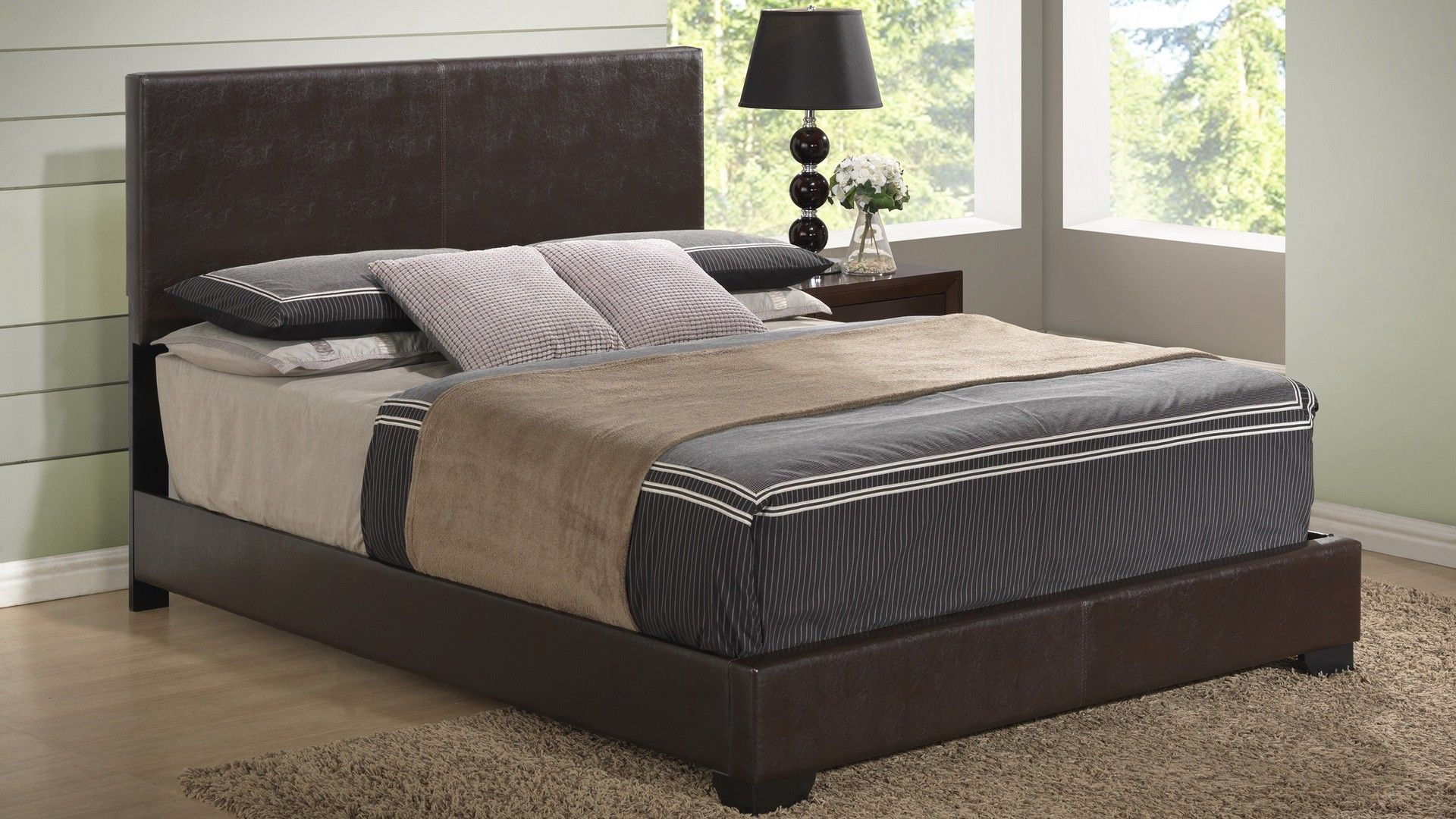 Global 8103 Br Bed Pu Leather Brown Modern
