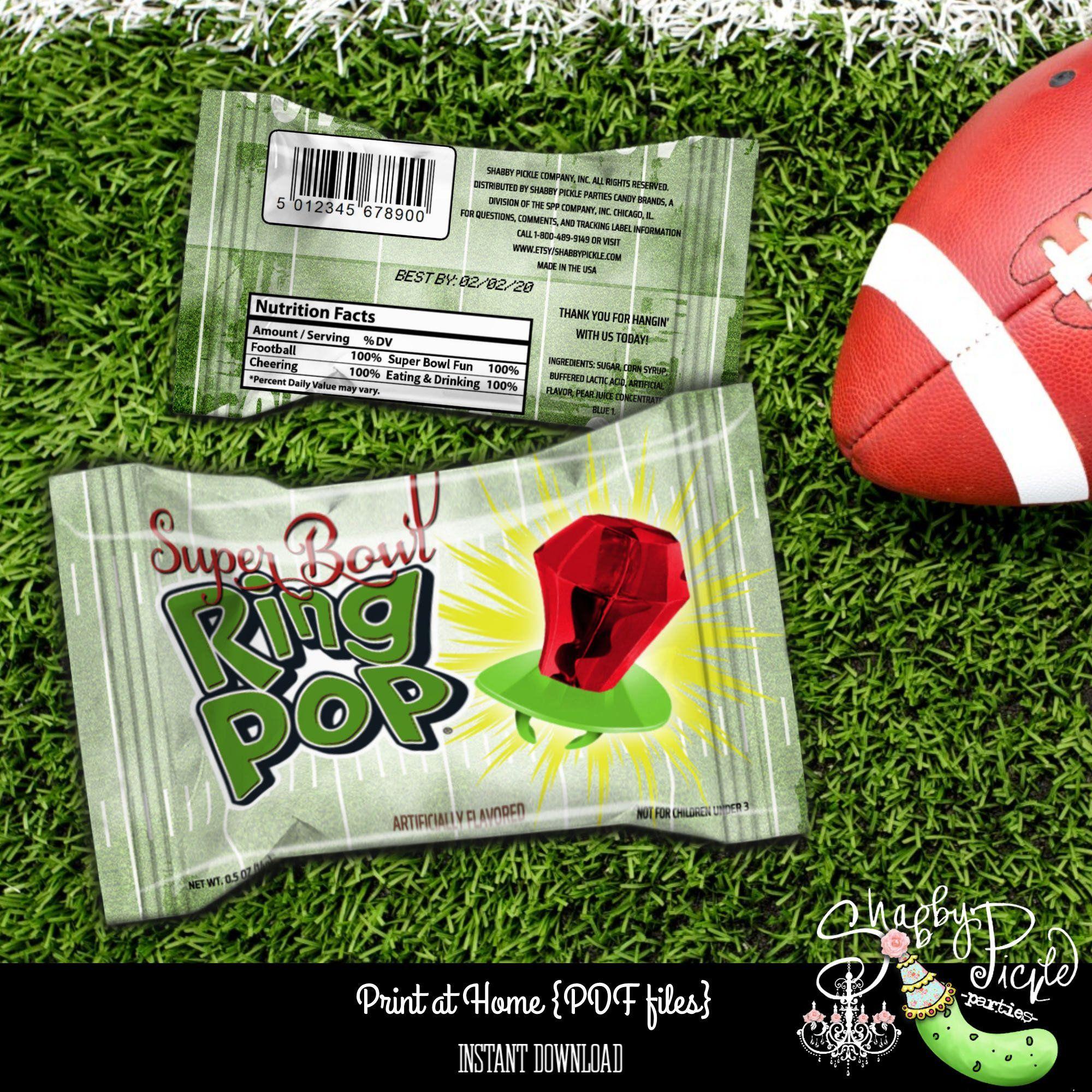 Vintage Football Super Bowl Ring Ring Pop Wrapper Super Bowl Party Printable Superbowl Sunday Parties Super Bow In 2020 Super Bowl Football Super Bowl Vintage Football