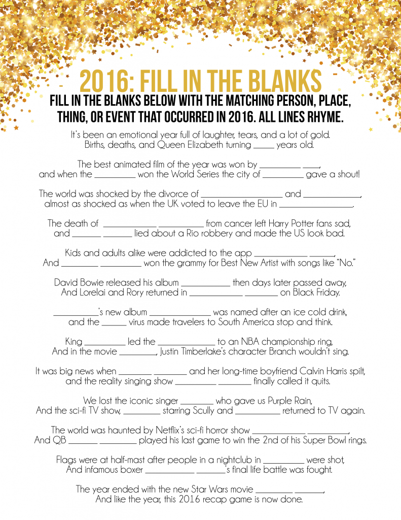 Free Printable 2019 Trivia Games for New Year's Eve Play