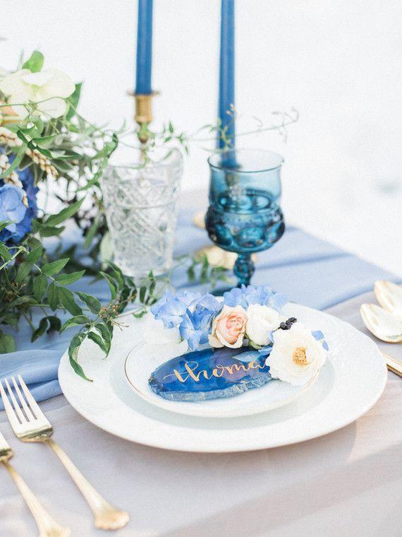 Wow Traumhaft Schone Tischdeko In Blau Weiss Grun Achat Mit