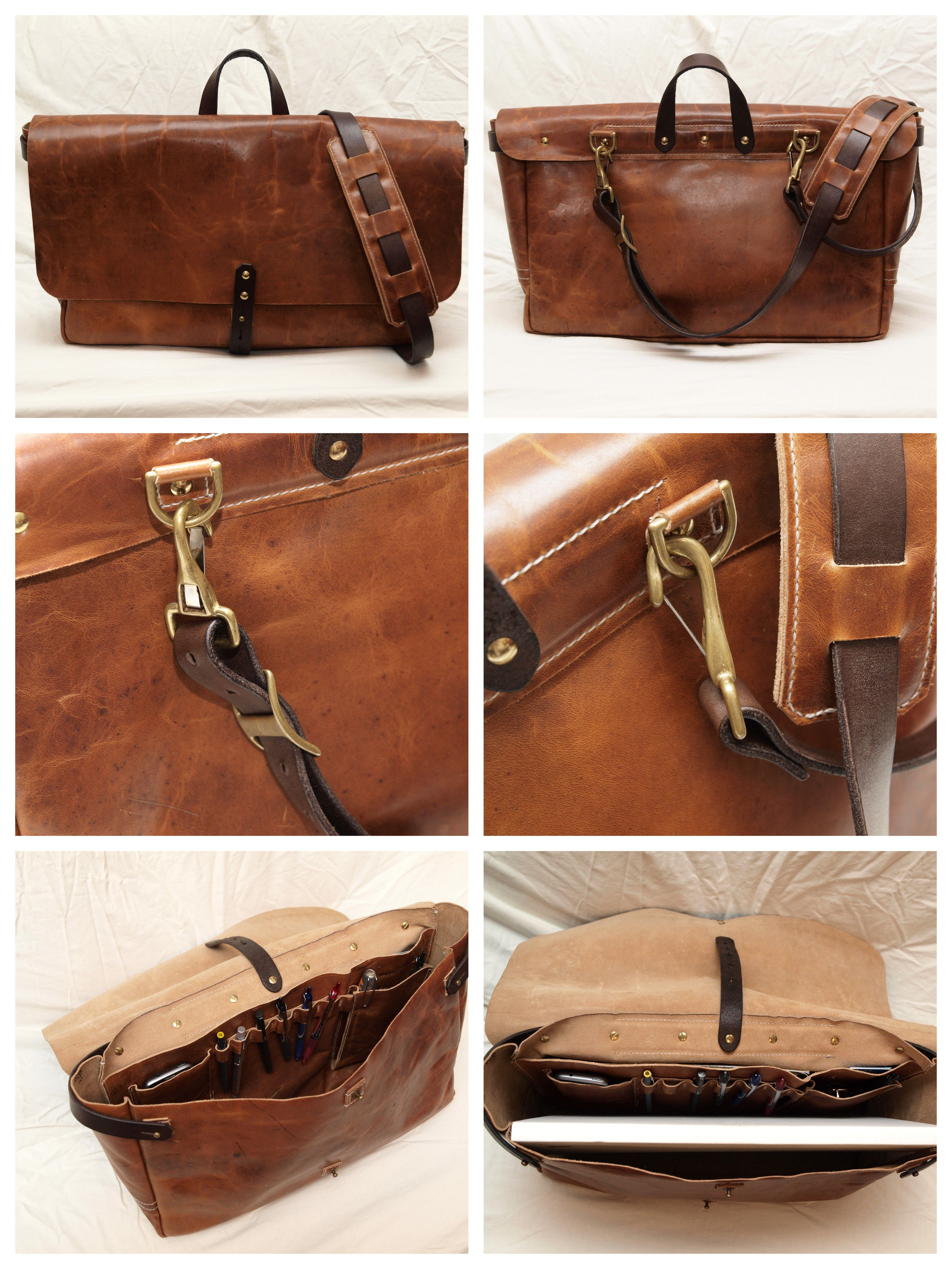 My 11x17 document carrying Leather Postal Bag. Made from English Tan Dublin  Horween and Herman Oak Leather. 11439376ac841