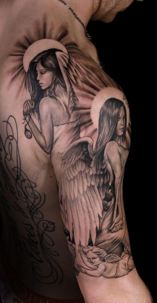 Angel Tattoo By Lexy Vanistok Cool Shoulder Tattoos Sleeve Tattoos Mens Shoulder Tattoo