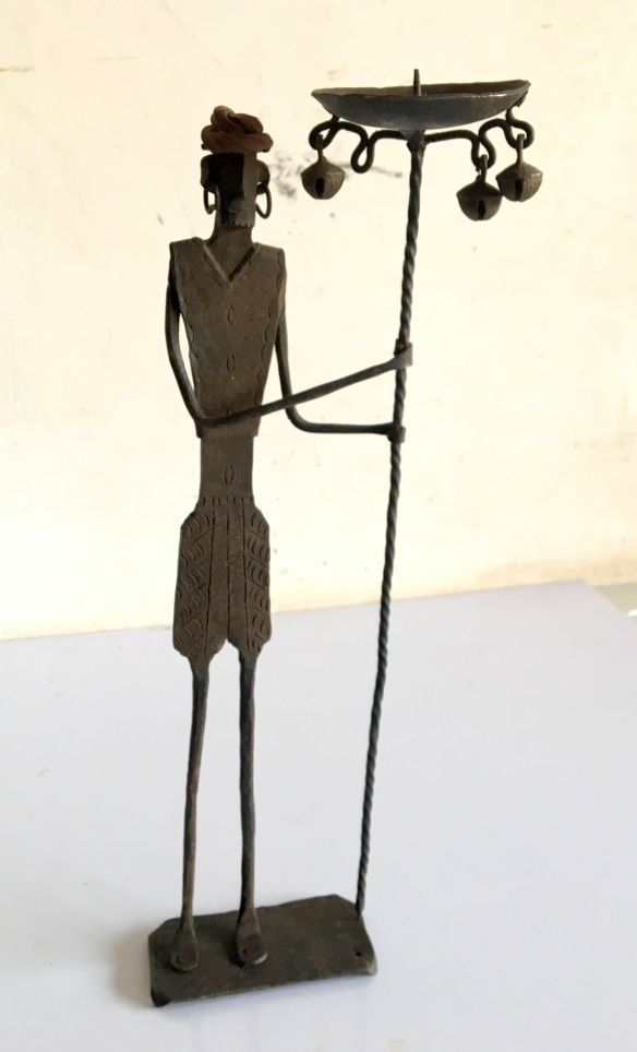 Vintage Handicrafts Steel Tribal Man Figure Candle Stand Candle