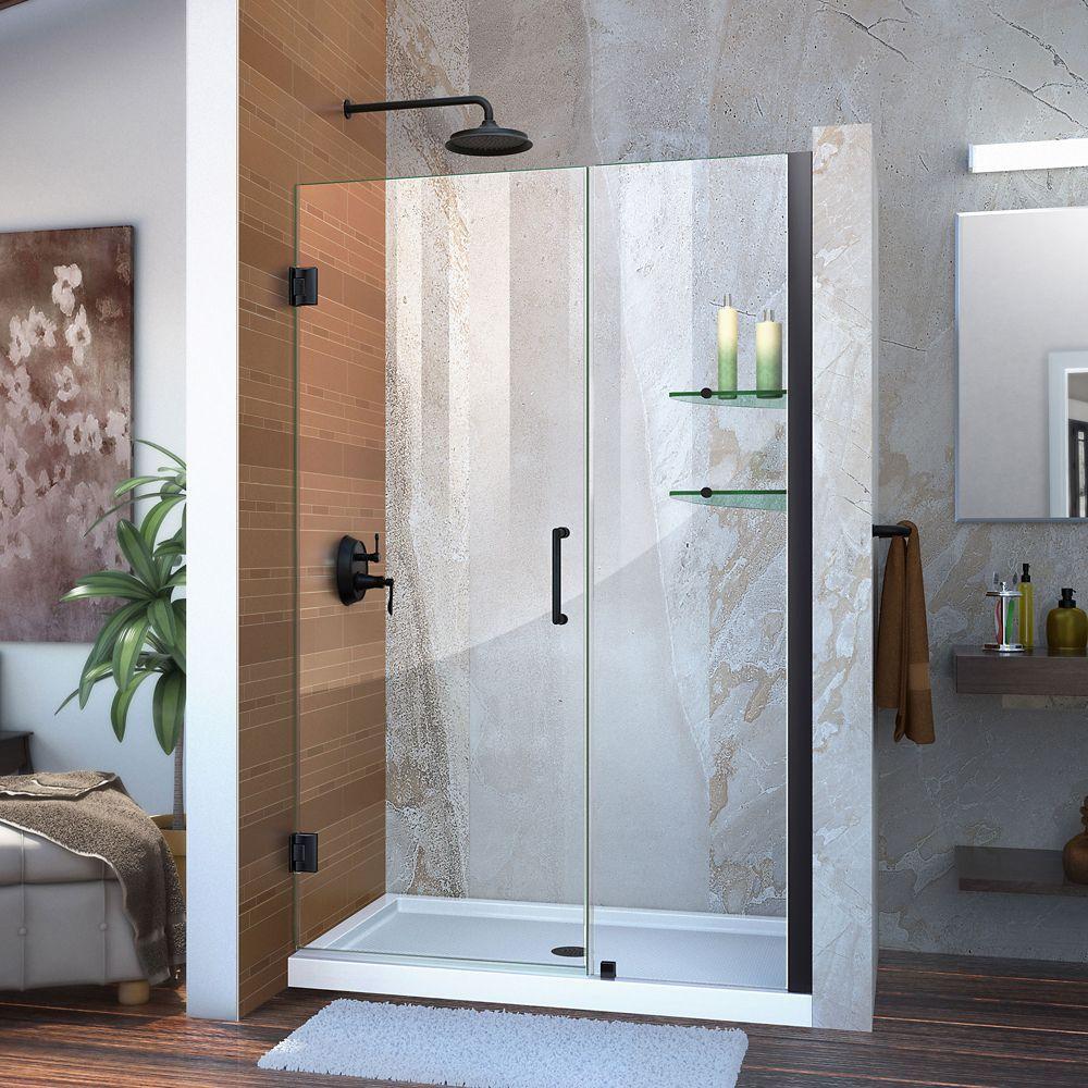 Unidoor 46 47 Inch W X 72 Inch H Frameless Hinged Shower Door With