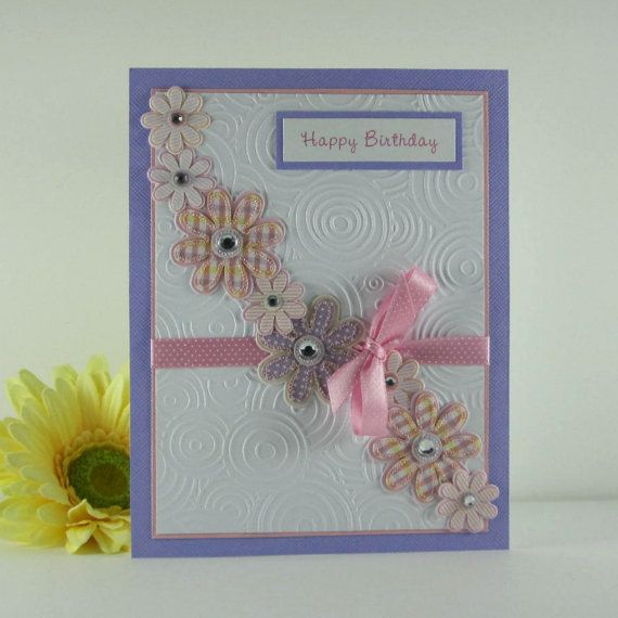 Birthday Card For Female Personalized Card Pink And Purple For
